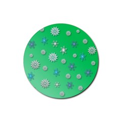 Snowflakes Winter Christmas Overlay Rubber Round Coaster (4 Pack)
