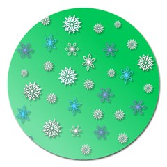 Snowflakes Winter Christmas Overlay Magnet 5  (round)