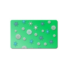 Snowflakes Winter Christmas Overlay Magnet (name Card)