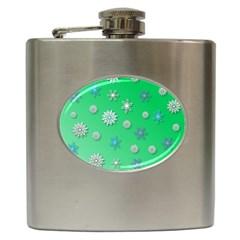 Snowflakes Winter Christmas Overlay Hip Flask (6 Oz)