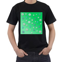 Snowflakes Winter Christmas Overlay Men s T Shirt (black) (two Sided)