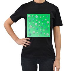 Snowflakes Winter Christmas Overlay Women s T Shirt (black) (two Sided)