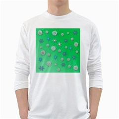 Snowflakes Winter Christmas Overlay White Long Sleeve T Shirts