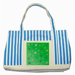Snowflakes Winter Christmas Overlay Striped Blue Tote Bag