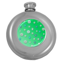 Snowflakes Winter Christmas Overlay Round Hip Flask (5 Oz)
