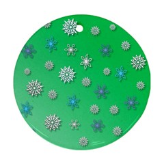 Snowflakes Winter Christmas Overlay Round Ornament (two Sides)