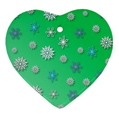 Snowflakes Winter Christmas Overlay Heart Ornament (two Sides)