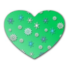 Snowflakes Winter Christmas Overlay Heart Mousepads