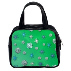 Snowflakes Winter Christmas Overlay Classic Handbags (2 Sides)