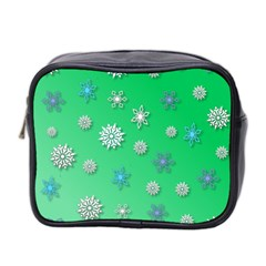Snowflakes Winter Christmas Overlay Mini Toiletries Bag 2 Side
