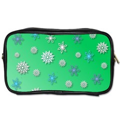 Snowflakes Winter Christmas Overlay Toiletries Bags