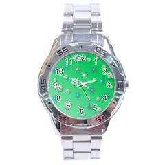 Snowflakes Winter Christmas Overlay Stainless Steel Analogue Watch