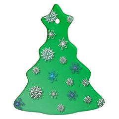 Snowflakes Winter Christmas Overlay Christmas Tree Ornament (two Sides)