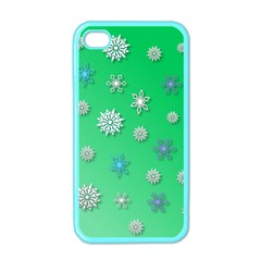 Snowflakes Winter Christmas Overlay Apple Iphone 4 Case (color)