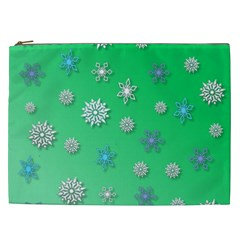 Snowflakes Winter Christmas Overlay Cosmetic Bag (xxl)