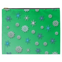 Snowflakes Winter Christmas Overlay Cosmetic Bag (xxxl)
