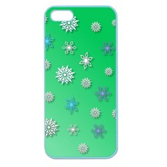 Snowflakes Winter Christmas Overlay Apple Seamless Iphone 5 Case (color)