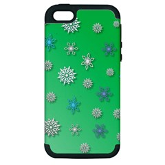 Snowflakes Winter Christmas Overlay Apple Iphone 5 Hardshell Case (pc+silicone)