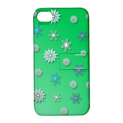 Snowflakes Winter Christmas Overlay Apple Iphone 4/4s Hardshell Case With Stand