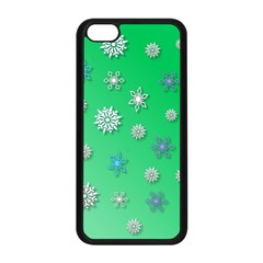 Snowflakes Winter Christmas Overlay Apple Iphone 5c Seamless Case (black)
