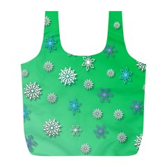 Snowflakes Winter Christmas Overlay Full Print Recycle Bags (l)