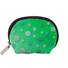 Snowflakes Winter Christmas Overlay Accessory Pouches (small)