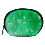 Snowflakes Winter Christmas Overlay Accessory Pouches (Medium)  Front
