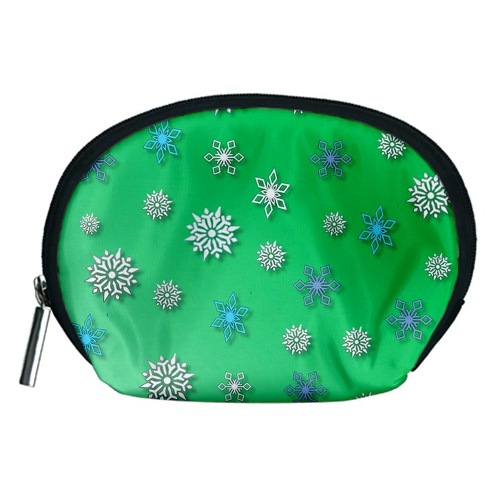 Snowflakes Winter Christmas Overlay Accessory Pouches (Medium)
