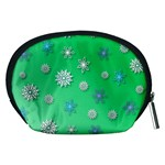 Snowflakes Winter Christmas Overlay Accessory Pouches (Medium)  Back