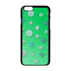 Snowflakes Winter Christmas Overlay Apple Iphone 6/6s Black Enamel Case