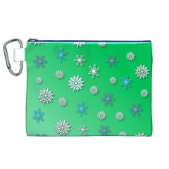 Snowflakes Winter Christmas Overlay Canvas Cosmetic Bag (xl)