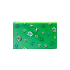 Snowflakes Winter Christmas Overlay Cosmetic Bag (xs)