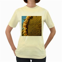Sunflower Bright Close Up Color Disk Florets Women s Yellow T Shirt