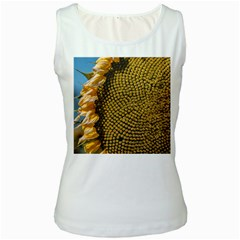 Sunflower Bright Close Up Color Disk Florets Women s White Tank Top