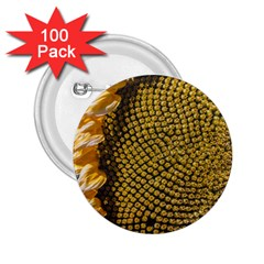 Sunflower Bright Close Up Color Disk Florets 2 25  Buttons (100 Pack)