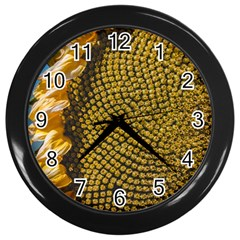 Sunflower Bright Close Up Color Disk Florets Wall Clocks (black)