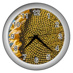 Sunflower Bright Close Up Color Disk Florets Wall Clocks (silver)
