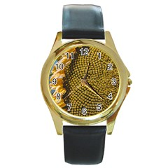Sunflower Bright Close Up Color Disk Florets Round Gold Metal Watch