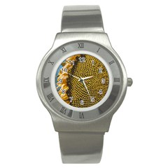 Sunflower Bright Close Up Color Disk Florets Stainless Steel Watch
