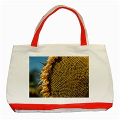 Sunflower Bright Close Up Color Disk Florets Classic Tote Bag (red)