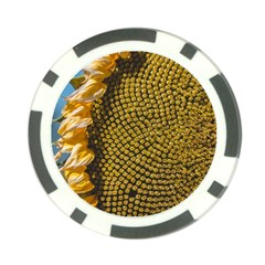 Sunflower Bright Close Up Color Disk Florets Poker Chip Card Guard (10 Pack)