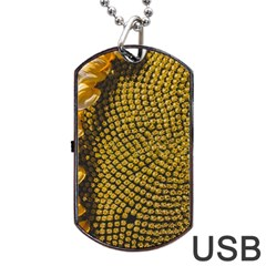 Sunflower Bright Close Up Color Disk Florets Dog Tag Usb Flash (two Sides)