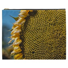 Sunflower Bright Close Up Color Disk Florets Cosmetic Bag (XXXL)