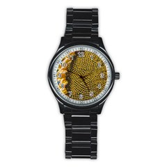 Sunflower Bright Close Up Color Disk Florets Stainless Steel Round Watch