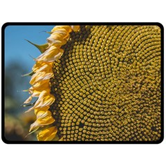 Sunflower Bright Close Up Color Disk Florets Double Sided Fleece Blanket (large)