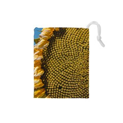 Sunflower Bright Close Up Color Disk Florets Drawstring Pouches (small)