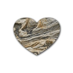 Rock Texture Background Stone Rubber Coaster (heart)