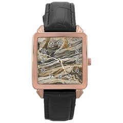 Rock Texture Background Stone Rose Gold Leather Watch