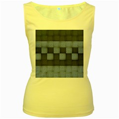 Texture Structure Surface Basket Women s Yellow Tank Top