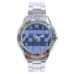 Texture Structure Surface Basket Stainless Steel Analogue Watch